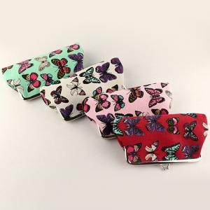 Kiss Lock Butterfly Print Clutch Bag - RED