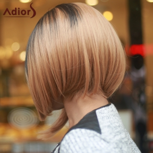 Stylish Medium Straight Side Parting Capless Brown Mixed Synthetic Wig For Women -