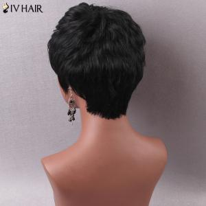 Manly Short Side Bang Women's Human Hair Capless Wig -