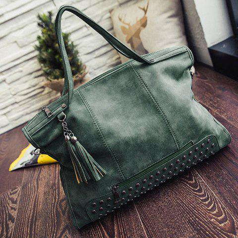 Discount Tassel Rivet PU Leather Tote Handbag - GREEN  Mobile