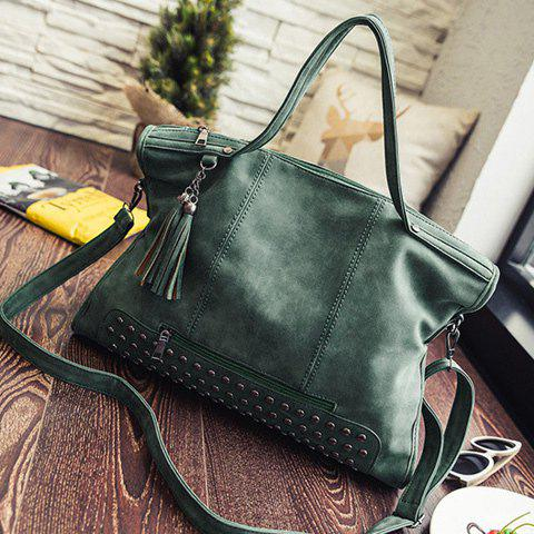 Chic Tassel Rivet PU Leather Tote Handbag - GREEN  Mobile