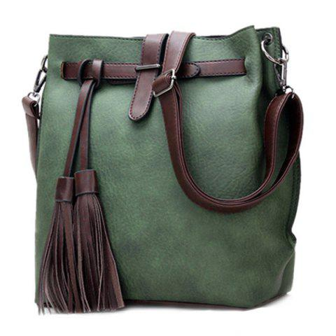 Outfit Leisure Tassels and PU Leather Design Crossbody Bag For Women GREEN
