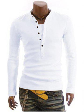 Hot Long Sleeve Half Button Embellished T-Shirt WHITE 2XL