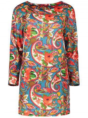 Plus Size Colorful Print Long Sleeve  Dress - Light Red - L