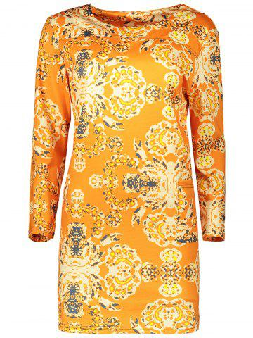 Plus Size Long Sleeve Fitted Dress - Orange - L