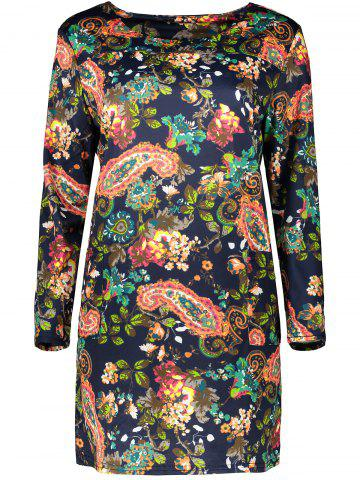 Best Plus Size Retro Long Sleeve Paisley Dress