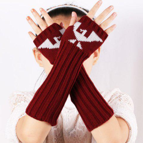 Online Knitted Ribbed Fingerless Arm Warmers with Bird Pattern BURGUNDY