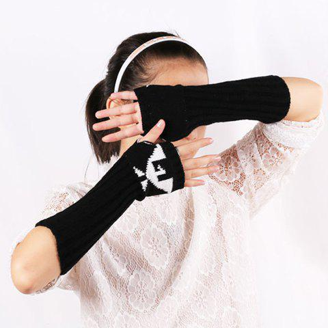 Shop Knitted Ribbed Fingerless Arm Warmers with Bird Pattern - BLACK  Mobile