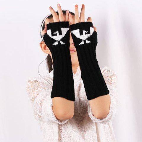 Latest Knitted Ribbed Fingerless Arm Warmers with Bird Pattern BLACK