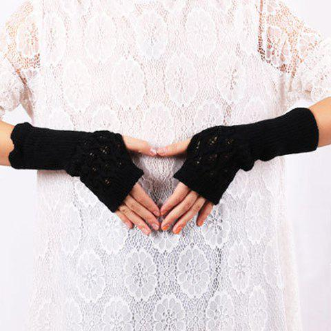 Fashion Knitted Hollow Out Leaf Wrist Warmers Hand Gloves - BLACK  Mobile