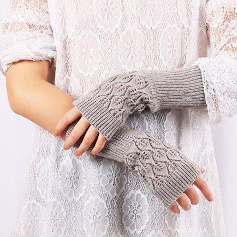 Chic Knitted Hollow Out Leaf Wrist Warmers Hand Gloves - LIGHT GRAY  Mobile