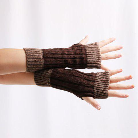 Unique Color Block Warm Knitted Ribbed Hand Fingerless Gloves - COFFEE  Mobile