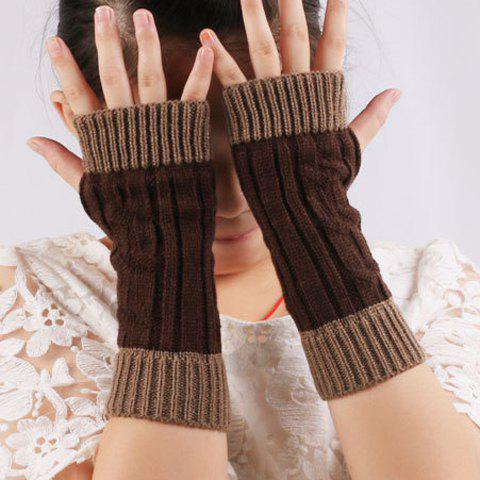 Buy Color Block Warm Knitted Ribbed Hand Fingerless Gloves - COFFEE  Mobile
