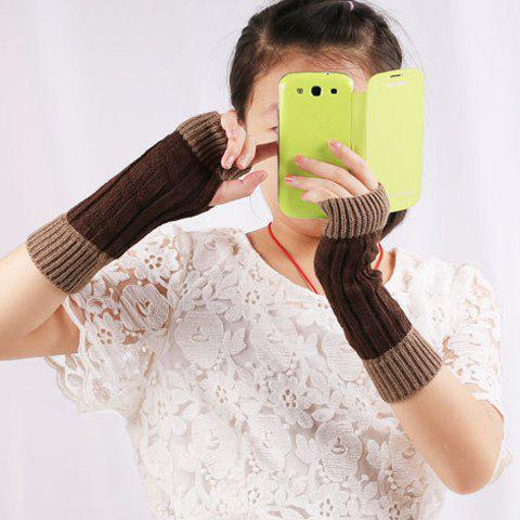Fashion Color Block Warm Knitted Ribbed Hand Fingerless Gloves - COFFEE  Mobile