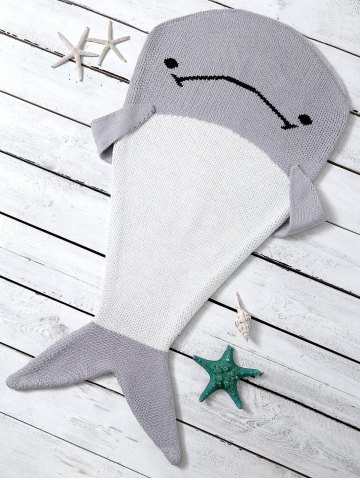 Color Block Knit Dolphin Shape Blanket Throw For Baby - Light Gray - One Size