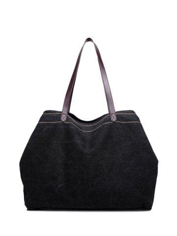 Fancy Casual Canvas Stitching Shoulder Bag