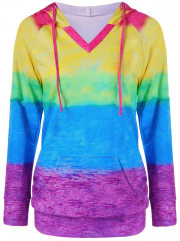 Outfits Kangaroo Pocket Rainbow Ombre Hoodie - XL COLORMIX Mobile