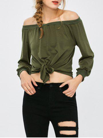 army green off the shoulder cropped knot front t shirt