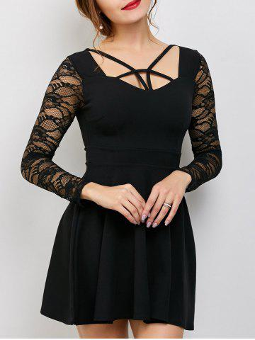 Strappy Fit and Flare Short Dress with Lace Panel - Black - One Size