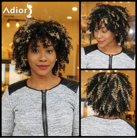 Adiors Short Highlight Side Bang Fluffy Curly Synthetic Wig - Colormix