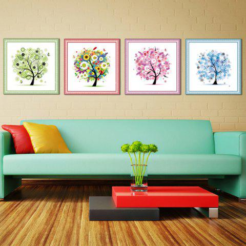 4PCS/Set DIY Beads Handmade Embroidery Four Season Tree Cross Stitch - Colormix