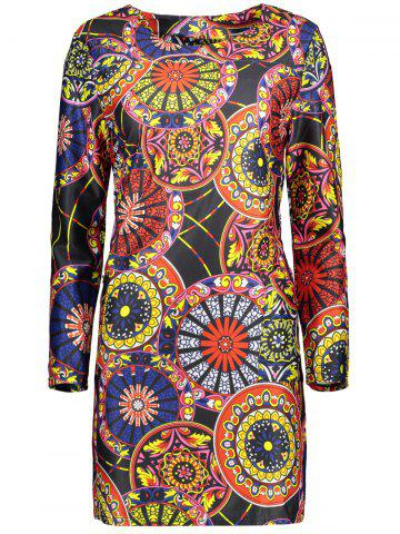 Plus Size Round Pattern Mini Dress With Pocket - Colorful - Xl