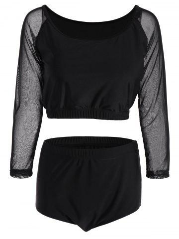 Plus Size Sheer Long Sleeve Tankini Swimsuit - Black - Xl