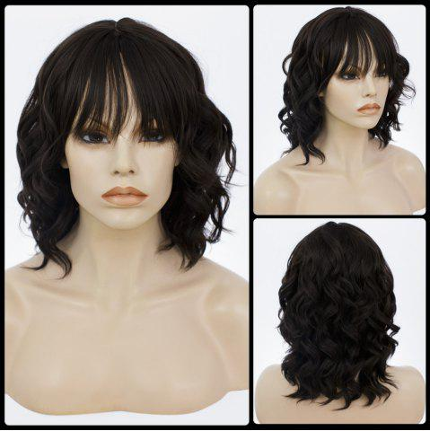 Affordable Medium Neat Bang Fluffy Curly Human Hair Wig