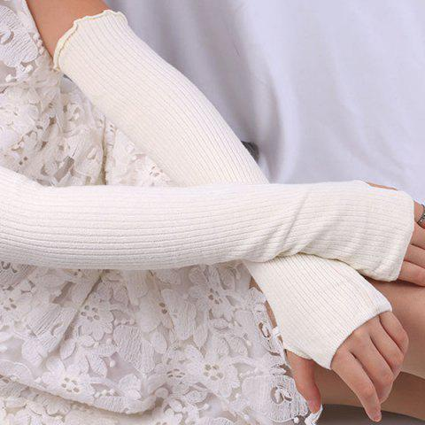 Cheap Knitted Ribbed Fingerless Plain Arm Warmers - OFF-WHITE  Mobile