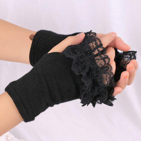 Knitted Fingerless Hand Gloves with Lace Trim - Black