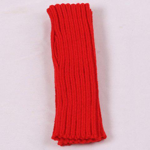 Hot Knitted Ribbed Plain Wrist Warmers Hand Gloves - RED  Mobile