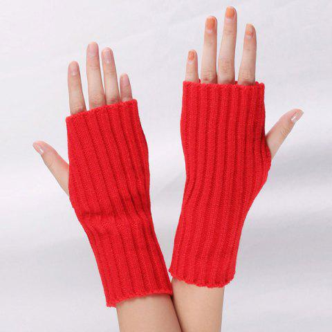Shop Knitted Ribbed Plain Wrist Warmers Hand Gloves - RED  Mobile