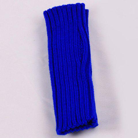 Outfit Knitted Ribbed Plain Wrist Warmers Hand Gloves - BLUE  Mobile