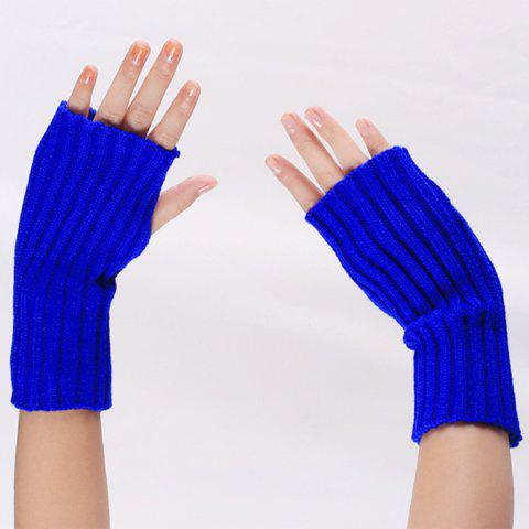 Cheap Knitted Ribbed Plain Wrist Warmers Hand Gloves - BLUE  Mobile