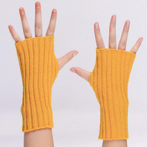 New Knitted Ribbed Plain Wrist Warmers Hand Gloves - ORANGE YELLOW  Mobile