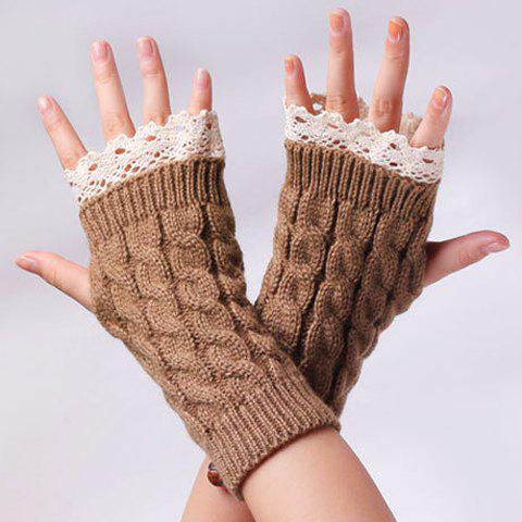 Buy Cable Knit Fingerless Gloves with Lace Trim - DARK KHAKI  Mobile