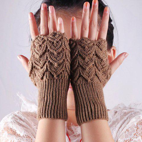 Chic Crochet Hand Knit Hollow Out Heart Fingerless Gloves DARK KHAKI