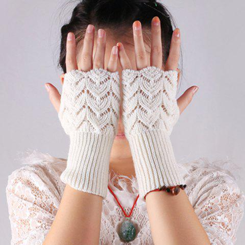 Outfits Crochet Hand Knit Hollow Out Heart Fingerless Gloves WHITE