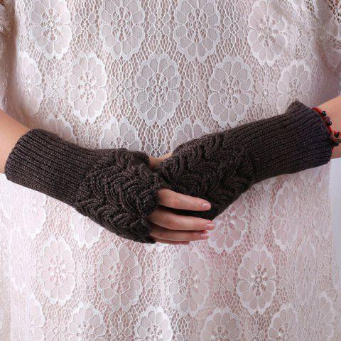Fancy Crochet Hand Knit Hollow Out Heart Fingerless Gloves DEEP GRAY