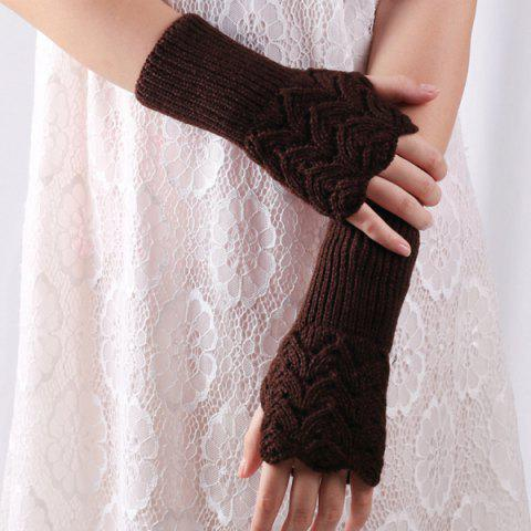 Cheap Crochet Hand Knit Hollow Out Heart Fingerless Gloves