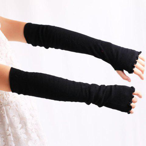Fancy Knit Fingerless Arm Warmers with Flouncing Edge - BLACK  Mobile