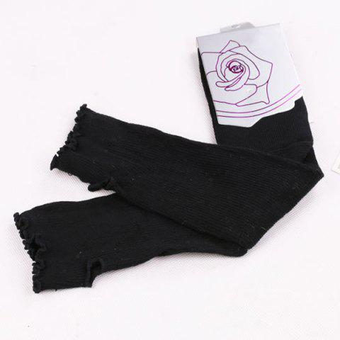 Fashion Knit Fingerless Arm Warmers with Flouncing Edge - BLACK  Mobile