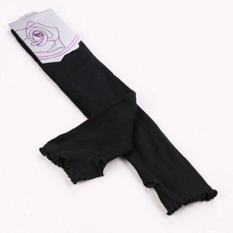 Cheap Knit Fingerless Arm Warmers with Flouncing Edge - BLACK  Mobile