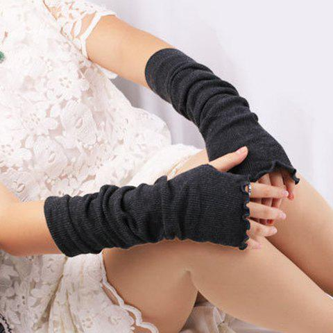Outfits Knit Fingerless Arm Warmers with Flouncing Edge DEEP GRAY