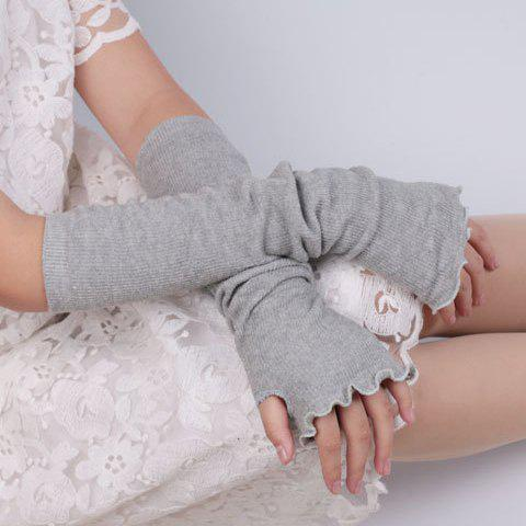 Knit Fingerless Arm Warmers with Flouncing Edge - Light Gray