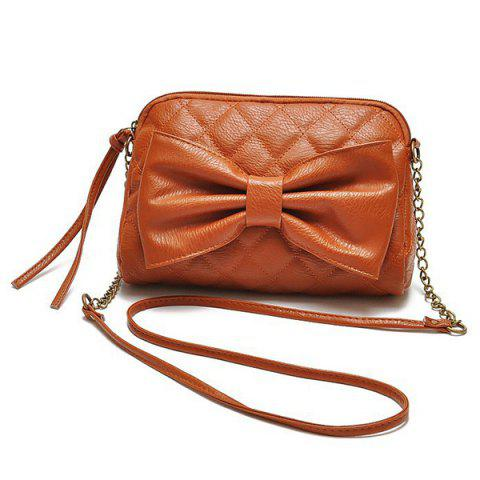 Bow Checked Crossbody Bag - Brown
