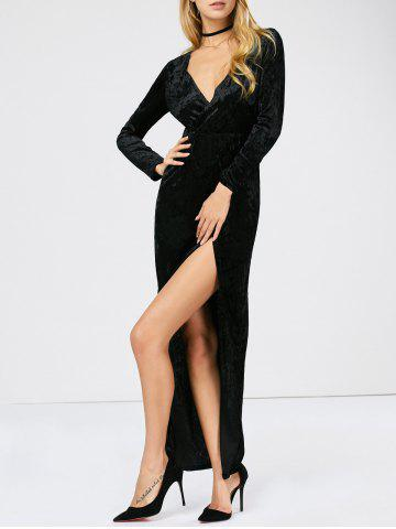 Fashion Velvet Long Sleeve Maxi High Slit Prom Dress BLACK S
