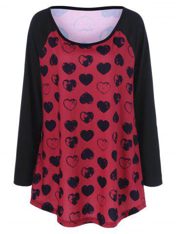 Cute Heart Print Plus Size Raglan Sleeves T-Shirt - Black And Red - 4xl