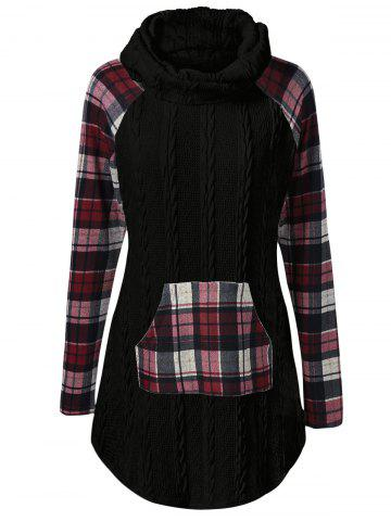 Best Plaid Cable Knit Tunic Sweater BLACK 5XL
