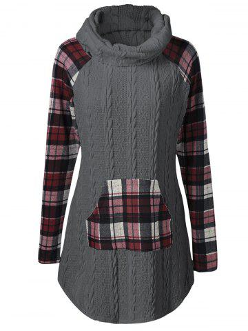 Plaid Cable Knit Tunic Sweater